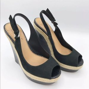 Badgley Mischka Black Suede Espadrille Wedges 5.5